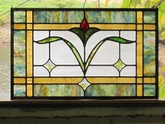 Charming Cottage Style Floral Stained Glass Leaded Panel