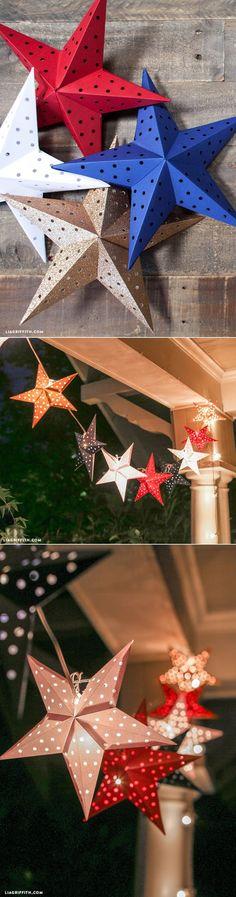#celebration #DIYpartydecor #4thofjuly #4thofjulydecorations #paperstar www.LiaGriffith.com