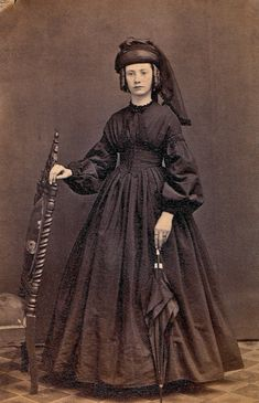 Woman in mourning dress.