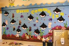 I love this.  Perfect use of children's artwork. The orca are TOO cute!  I like how other projects were also incorporated and good use of COLOR. See the waves at the top?  Kudos to Mrs. Kilburn!