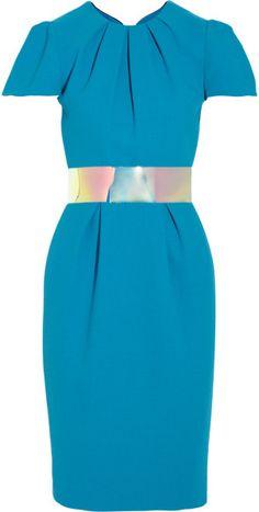 Roksanda Ilincic Blue Oriel Colorblock Woolcrepe Dress <3