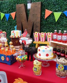 Circus birthday party dessert table! See more party planning ideas at http://CatchMyParty.com!