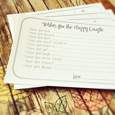 Wishes for the Happy Couple Cards - Unique Bridal Shower Activity Game or Wedding Guest Book Alternative - Set of 130 via Etsy