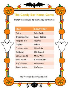 Free Printable #Halloween #Baby #Shower Candy Bar Name Game. Visit this page for more printable games,ideas and tips.