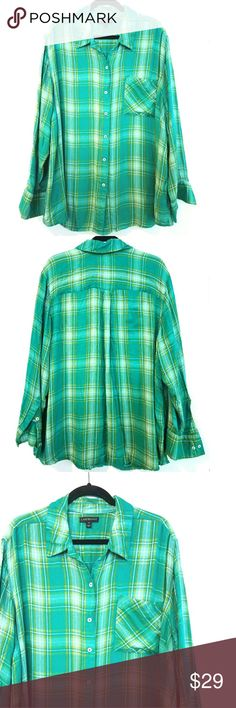 "Lane Bryant 28 Green Plaid Shirt This Lane Bryant 28 Green Plaid Shirt is in great used condition. Has the soft feel of lightweight flannel but its durable 100% rayon. Bust measures 29"" across laying flat measured from pit to pit so 58"" around. No stretch. 31.5"" long. ::: Bundle and save! ::: No trades. Lane Bryant Tops Button Down Shirts"