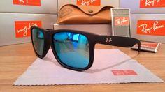 óculos de sol ray ban justin rb4165 azul espelhado