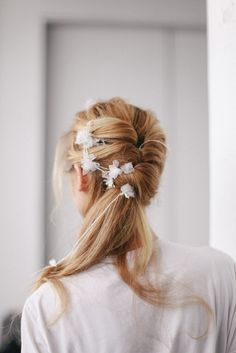 Bridal Hair / Backstage at Marchesa Bridal Spring 2015. / Photo: The LANE www.thelane.com
