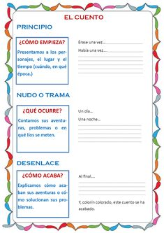 Actividades para la animación lectora: Crea tu propio cuento... Spanish Classroom Activities, Spanish Teaching Resources, Kids Math Worksheets, Spanish Language Learning, Spanish Lesson Plans, Spanish Lessons, Spanish Sentences, Dual Language Classroom, Reading Anchor Charts