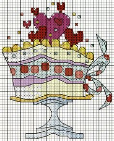 'Birthday Cake' from Michael Powell's 'Mini Cross Stitch' book (paperback, pub. Search Press). There are twenty to make and they are all very quirky and appealing. I have made most of the pictures in this book for someone or other and they are a real pleasure to work on. My attempt at this design can be found at https://uk.pinterest.com/pin/504614333230834215/