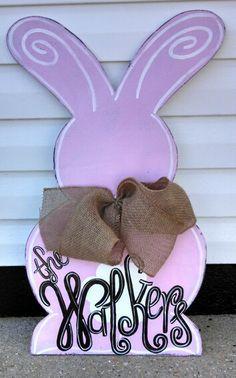 Wooden bunny door hanger