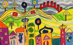 children's art of Auckland inspired by Hundertwasser - teaching art - pastel and dye - carolineisateacher@wordpress.com