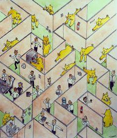 Monday morning.   #office #hamster #maze #illustration