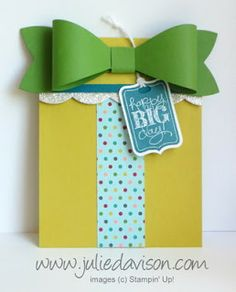 VIDEO tutorial for Gift Card Holder with Stampin' Up! Gift Bow Die, inspired by Shelli Gardner at Convention 2013 - http://juliedavison.blogspot.com/2013/09/video-gift-card-holder-with-stampin-up.html