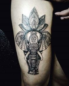 Lovely and Cute Elephant Tattoo Design (21)