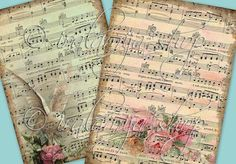 BIG SHEET MuSIC collage Digital Images  -printable download file Digital Collage Sheet Vintage Paper Scrapbook via Etsy