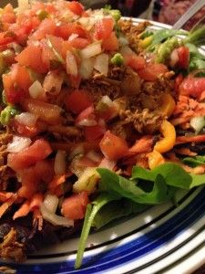 Chicken Fajita Salad!  Great way to repurpose leftover chicken.