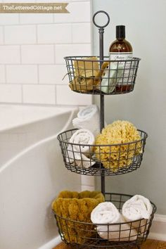 Guest bath idea, also could be used to keep kid's toys in order