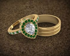 Pear Shaped Halo Diamond Engagement Ring in Yellow Gold