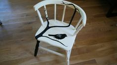 Antiqued Child's Chair has been upcycled! This will surely be your wee one's favorite piece of furniture and will fit with many styles of decor. Layered underpaint and unique handpainted bird design will add charm to any room. Will make a great gift too!  $55