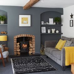 Grey living room designs, furniture and accessories that prove the cooling colou. Grey living room designs, furniture and accessories that prove the cooling colour is the scheme for you New Living Room, Living Room Interior, Home And Living, Cool Living Room Ideas, Grey And Yellow Living Room, Tiny Living, Living Room Ideas Modern Grey, Living Room Decor Ideas With Fireplace, Dark Grey Walls Living Room