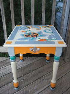 Hand painted Up cycled Vintage Table. Original art by Especia
