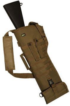 Coyote Tan Shoulder Scabbard Soft Protective Carry Case. Attaches via MOLLE. Adjustable Ambidextrous Molle Universal Shotgun Rifle