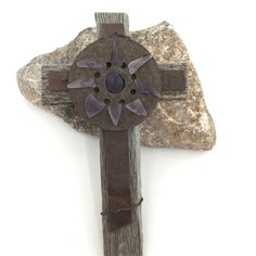 Rusty Rustic Wall Cross w Desert Sea Glass Center. Made with Old farm produce wooden crates and desert rusted rustic metal pieces adorn this cross. Each is one of a kind.no two shall be alike and no one on the planet shall have a cross like yours. Rustic Cross, Cross Art, Will And Grace, Glass Center, Wall Crosses, Old Farm, Wooden Crates, Antique Metal, Old Wood