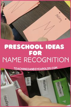 These name recognition ideas are easy to add to the preschool classroom, and a fun way to build literacy skills. We display the children's names in a variety of places not only to identify property, but to also help with name recognition. This is one of the first steps towards preschoolers writing their names, too! Reggio Classroom, Classroom Layout, Classroom Bulletin Boards, Classroom Design, Preschool Classroom, Classroom Organization, Classroom Teacher, Preschool Name Recognition, Recognition Ideas