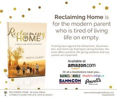 Pre-order Reclaiming Home and receive tons of bonuses and helpful material for parents and families.