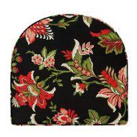 """Box Edge Chair Cushion 17""""x18-1/2""""x3-1/2"""" - Lotus Red Floral Print"""