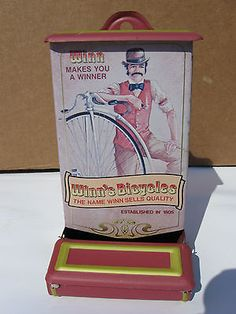 Contempary Tin Kitchen Stick Match Holder - Winn's Bicycles Advertisement