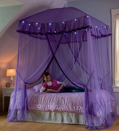 For modern girls room one of stylish canopy bed from purple fabric color, Stylish purple canopy bed for girls room, girls canopy bed, canopy bed designs, girls canopies Bed For Girls Room, Little Girl Rooms, Bedroom Girls, Kids Room, Canopy Beds For Girls, Trendy Bedroom, Princess Room Ideas For Girls, Bedroom Decor For Kids, Little Girls Room Decorating Ideas Toddler