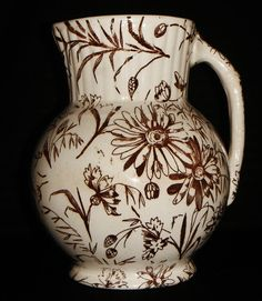 Antique English Brown Transferware Pitcher !!! Likely Staffordshire !!!
