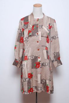 1970s Beige Red Green Black Line Floral Print Neck Tie Mini Shift Dress by FATFAM,