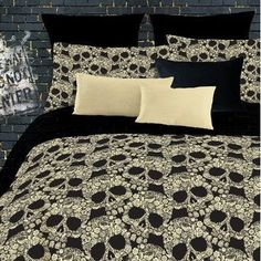 Veratex Flower Skulls Comforter Set Floral 4pc Queen Bedding