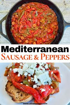 Mediterranean Sausage and Peppers – Spetzofai – Mediterranean Diet Recipes, Mediterranean Dishes, Mediterranean Style, Greek Recipes, Whole Food Recipes, Italian Recipes, Dinner Recipes, Sausage And Peppers, Stuffed Peppers