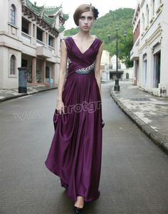 Satin V-neck Cross Over Pleated Bodice A-line Prom Dress