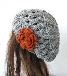 Hand Knit Hat  Beehive Tam  in  Silver Gray   Womens Hat  by Ebruk, $30.00
