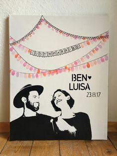 Hochzeitsgästebuch - Handgemaltes Porträt, Wedding Tree, Hochzeit - ein Designerstück von Anuschka-Neuner bei DaWanda