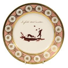 One of Five Pink Dagoty Plates with Romantic Scenes and Sayings | From a unique collection of antique and modern porcelain at https://www.1stdibs.com/furniture/dining-entertaining/porcelain/