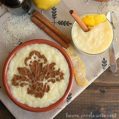 Arroz Doce is the Portuguese version of rice pudding. This rice pudding recipe combines rice, sugar, milk, eggs, cinnamon, and lemon peel to make a sweet dessert.