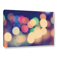 ArtWall John Black Blurred Lights Gallery-Wrapped Canvas, Size: 16 x 24, Green