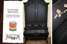 This beauty was restyled by For The Love of Furniture, https://www.facebook.com/Fortheloveoffurniture?fref=ts with General Finishes Lamp Black Milk Paint.  Definitely stunning!