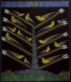 Yellow Birds in the Tree, ca.1960, 'fish, birds and trees are common motifs in [Scottie Wilson's] work and these three symbols feature on the crest of the City of Glasgow.' National Galleries of Scotland.