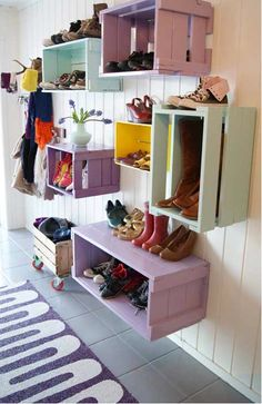 Storage Solution for like a back door or screened in porch area. And again with crates!!! I need to remember this!!