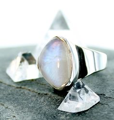 Rainbow moon stone silver ring. Size 5 1/4 by apsarasV on Etsy