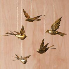Brass Swallow Ornaments - Set of 5 | dotandbo.com