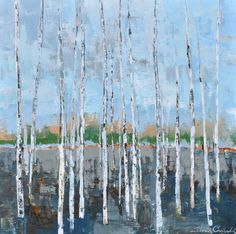"""""""Gray Forest Bue Sky"""" by Sara Cameli,  30"""" by 30"""" on gallery wrap, $850 
