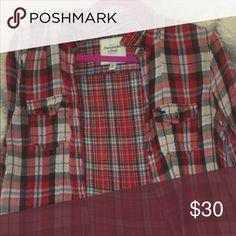 Authentic Abercrombie & Fitch Flannel Original Abercrombie and Fitch Flannel. Beautiful red plaid flannel in great conditions. Willing to negotiate price. Abercrombie & Fitch Tops Button Down Shirts