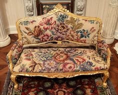 French Salon Sofa with Antique Petit Point by Designs by Z Zielma Signed